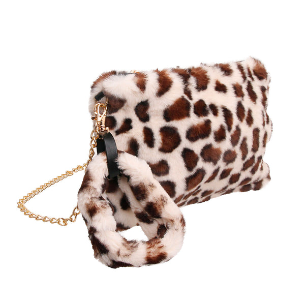 Light Leopard Fur Wristlet Clutch