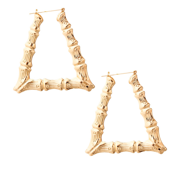 Triangle Bamboo Hoop Earrings