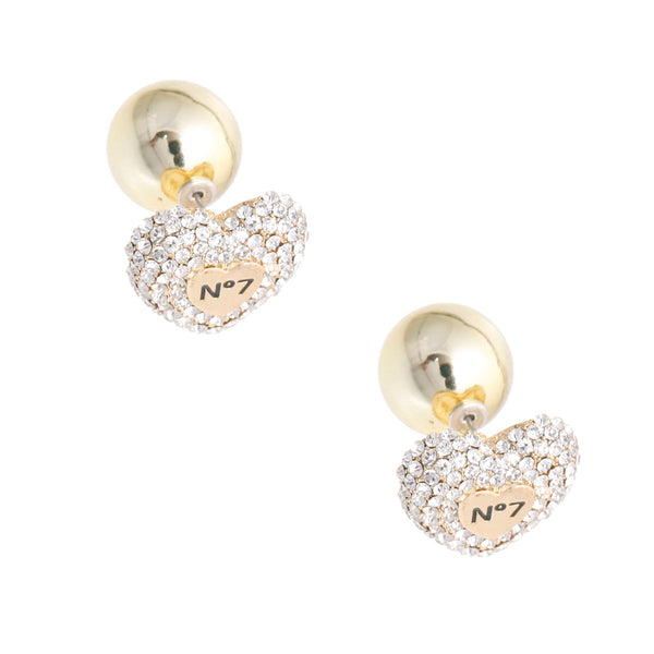 Gold No 7 Heart Double Studs
