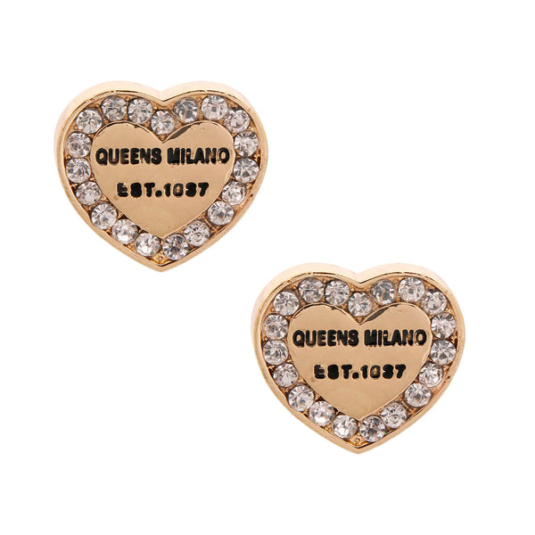 Gold Queens Milano Heart Studs