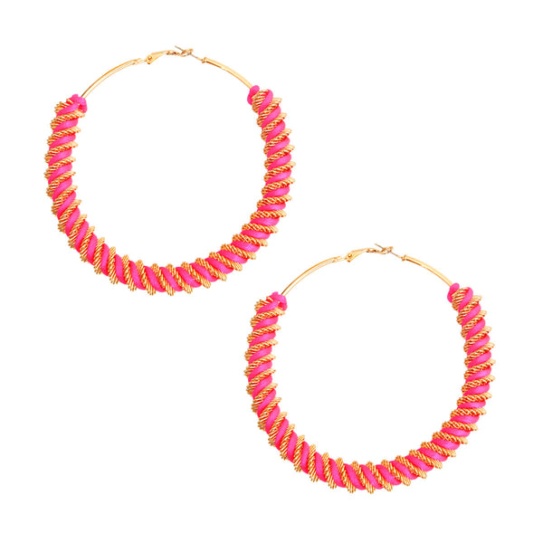 Gold and Fuchsia Twisted Hoops