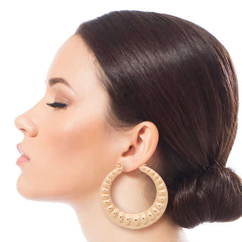 Gold Wavy Bamboo Hoops