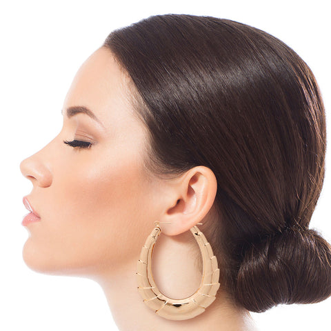 Gold Teardrop Graduated Bamboo Hoops