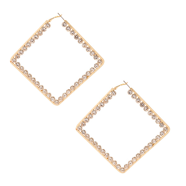 Square Rhinestone Hoop Earrings