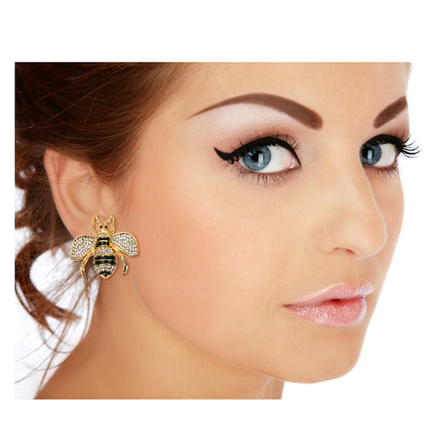Gucci Style Rhinestone Bee Stud Earrings