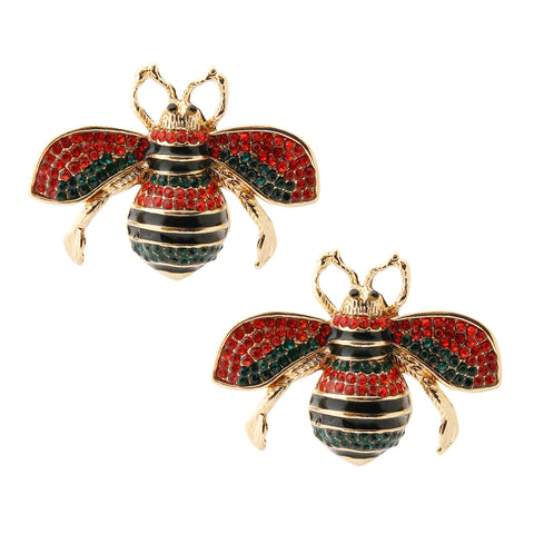 Rhinestone Bee Stud Earrings