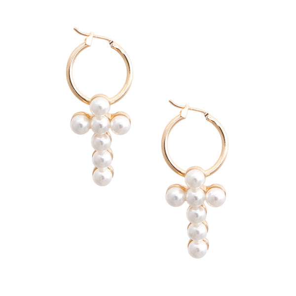 Cream Pearl Cross Baby Hoops