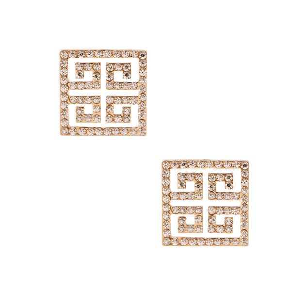 Gold Versace Rhinestone Earrings
