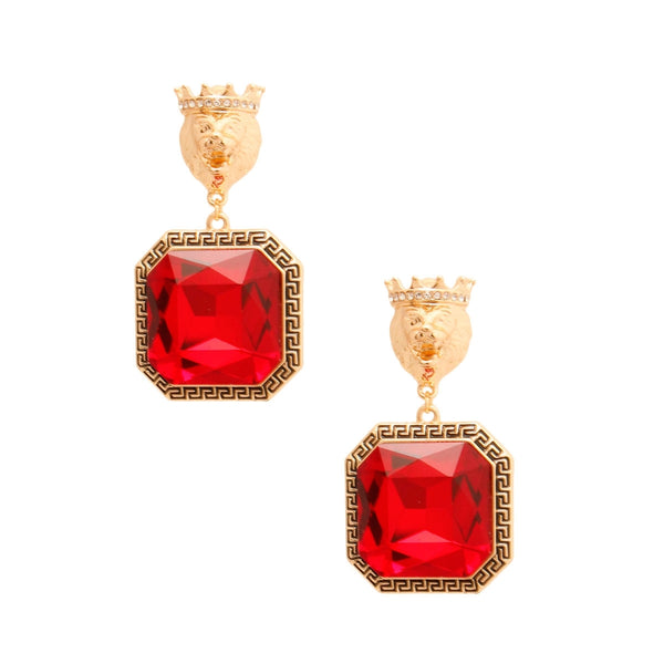 Red Versace Lion Drop Earrings