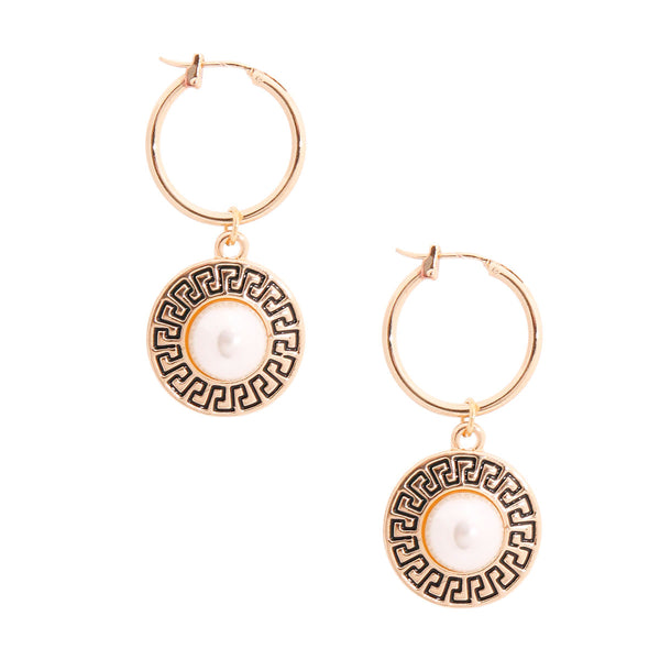 Versace Style Gold Pearl Baby Hoops