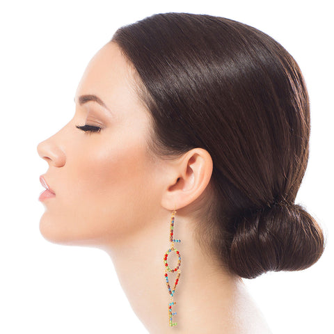 Multi Color LOVE Linear Drop Earrings