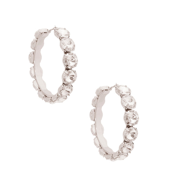 Silver Chunky Crystal Hoops