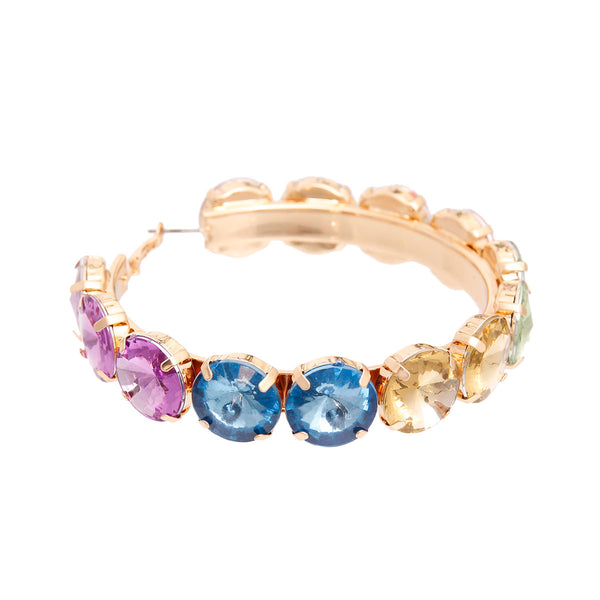 Multi Color Chunky Crystal Hoops
