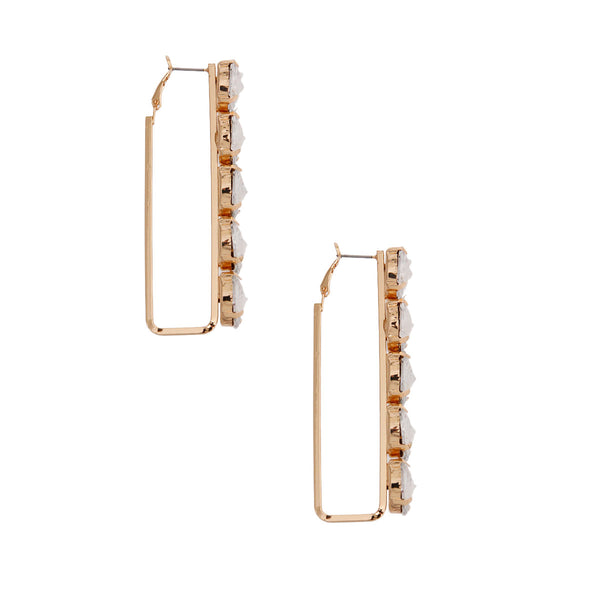 Gold Bar Crystal Hoops