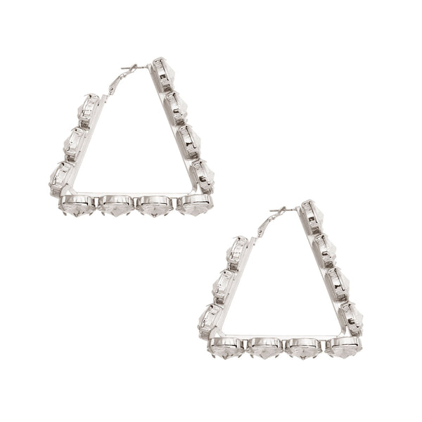 Silver Triangle Chunky Crystal Hoops