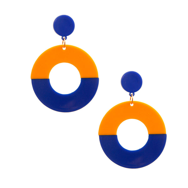 Orange and Blue Round Earrings