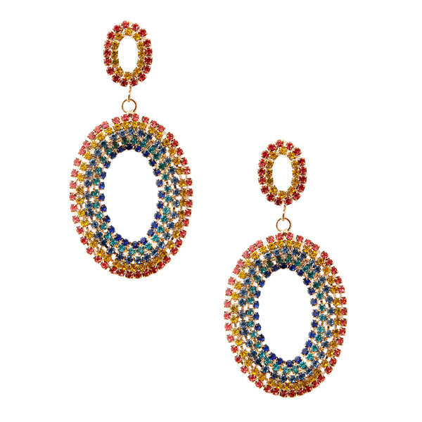 Rainbow Rhinestone Oval Drop Earrings