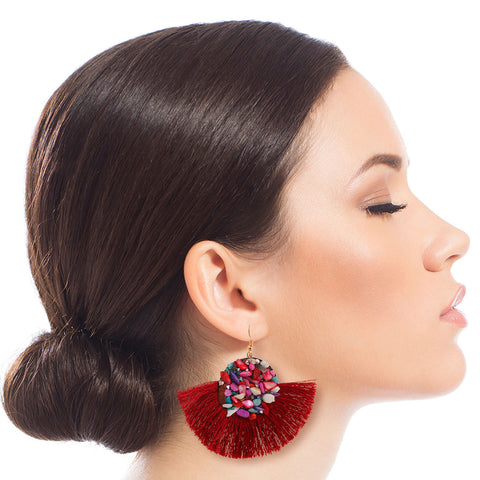 Burgundy Mosaic Bead Fan Tassel Earrings