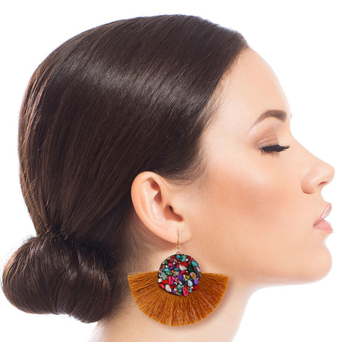 Mustard Mosaic Bead Fan Tassel Earrings