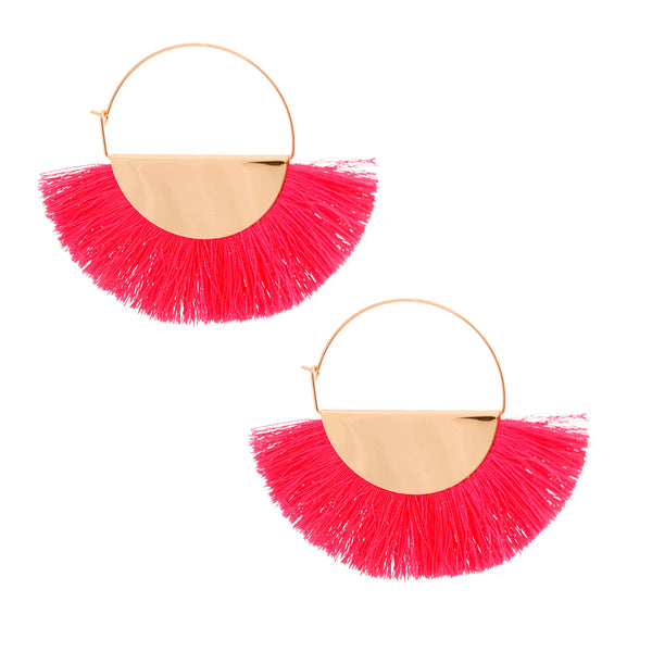Pink Fan Tassel Hoops
