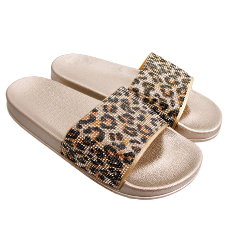Size 11 Leopard and Gold Slides
