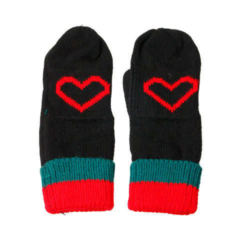 Black Heart Stripe Mittens