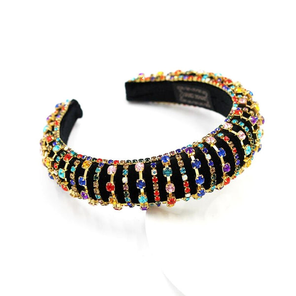 Multi Color Rhinestone Chunky Padded Headband