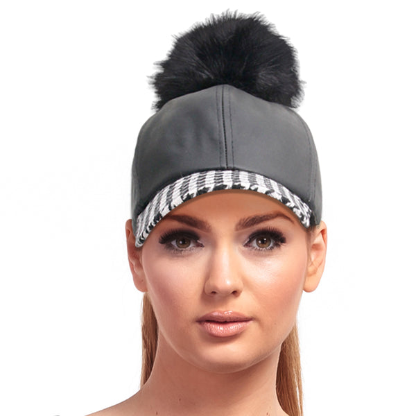 Houndstooth Leather Pom Hat