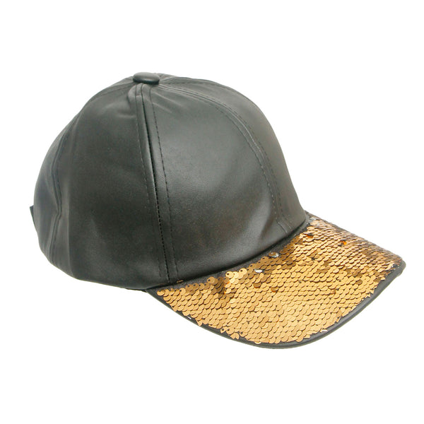 Gold Sequin Black Leather Hat