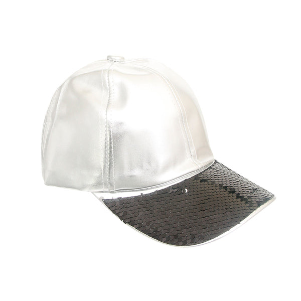 Black Sequin Silver Leather Hat