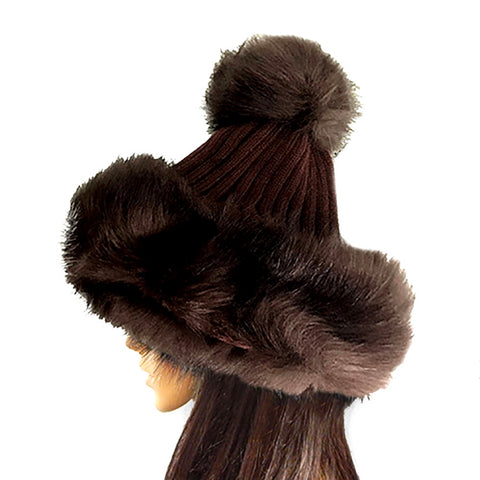 Brown Knit and Fur Pom Beanie