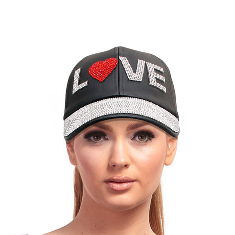 Black Leather LOVE Heart Cap