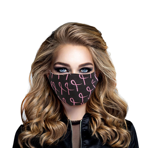 Black and Pink Breast Cancer Mask