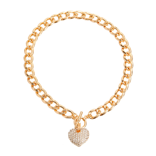 Gold Heart Toggle Necklace