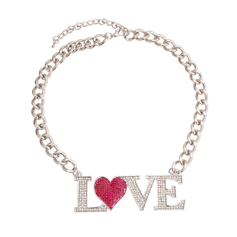 Silver and Pink LOVE Heart Necklace