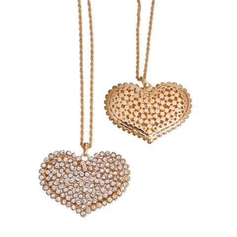 Long Gold Clear Heart Necklace