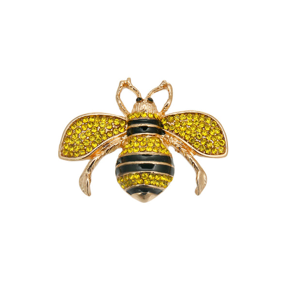 Yellow Rhinestone Bee Brooch