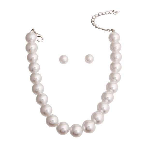 White Ball Pearl Single Strand Necklace
