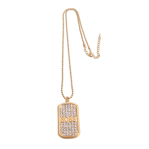 Gold BOSS Dog Tag Necklace