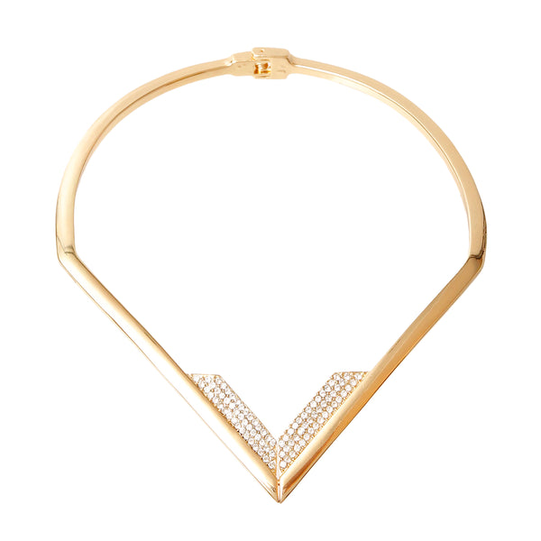 V Shaped Rhinestone Choker