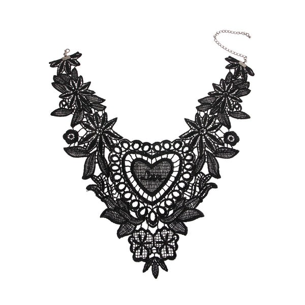 Black Heart Embroidered Necklace