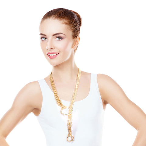 Gold Chain Lariat Circle Necklace