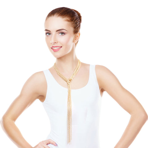 Gold Chain Lariat Triangle Necklace