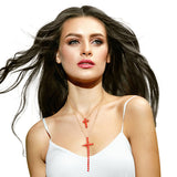 Red Double Cross Pendant Necklace