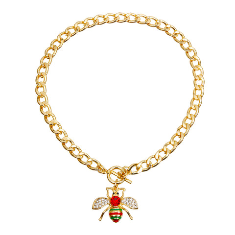 Gucci Style Rhinestone Bee Toggle Necklace with Red Rhinestone Detail