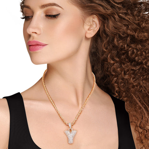 Y Rhinestone Gold Necklace