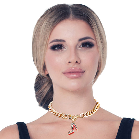 Bling Boutique High Heel Black Necklace