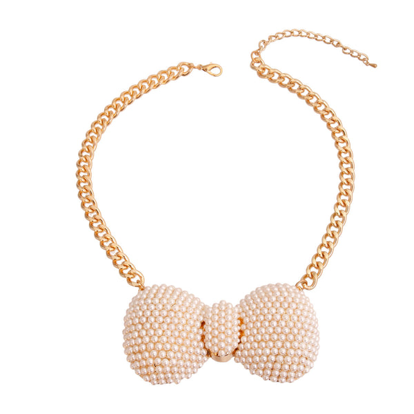 Cream XLarge Bow Necklace