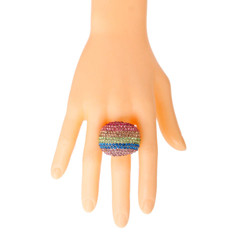 Rainbow and Gold Dome Ring