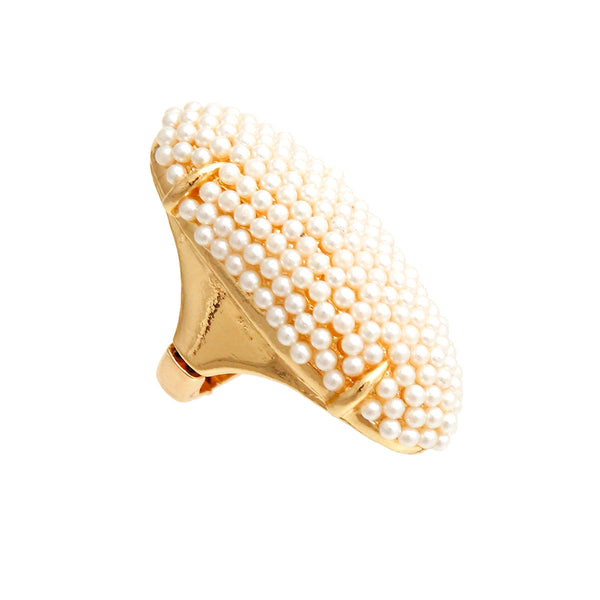 Cream Pearl Elongated Ring